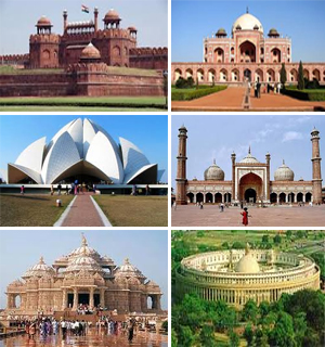 Images of different historial monuments in Delhi like Red fort, Humayuns tomb, Lotus temple  and Jama masjid